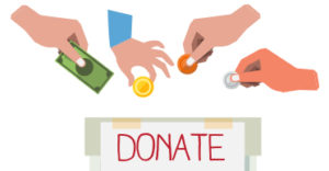 Illustration of hands putting coins into donation box