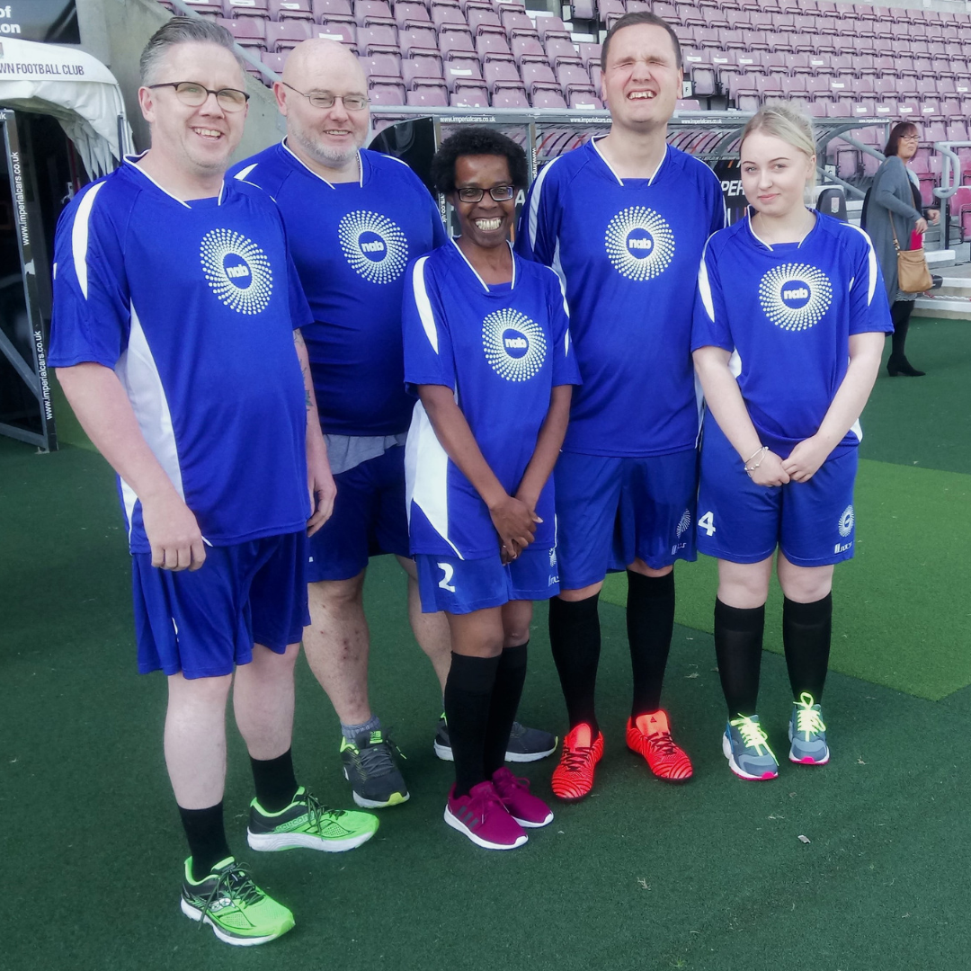 NAB's visually impaired players were (from left to right) Andrew, Duncan, Mel, Hugh and Romey